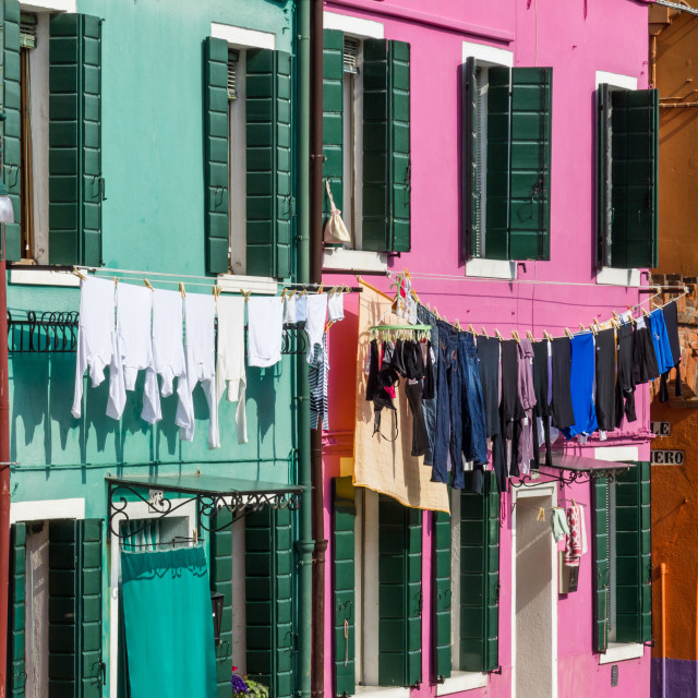 """Washing hanging from line Burano, Venice"" stock image"