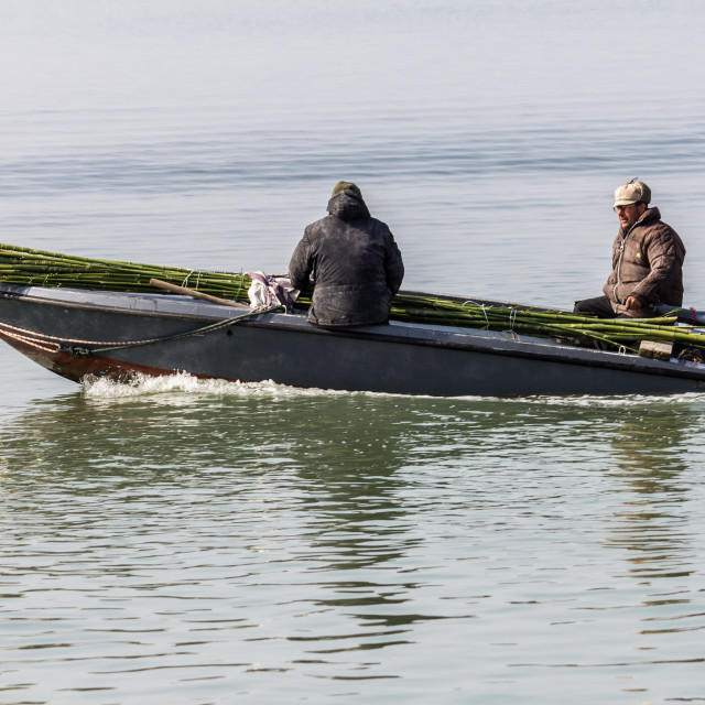 """""""Two men travelling on Venice lagoon"""" stock image"""