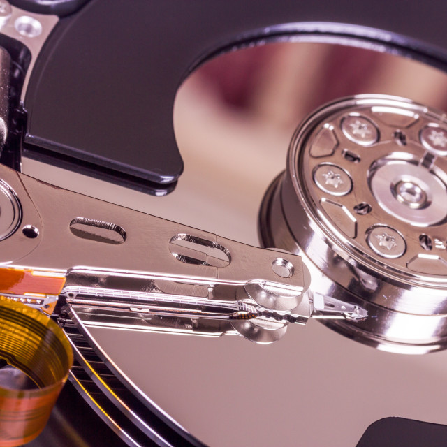 """Hard disk drive internal components"" stock image"