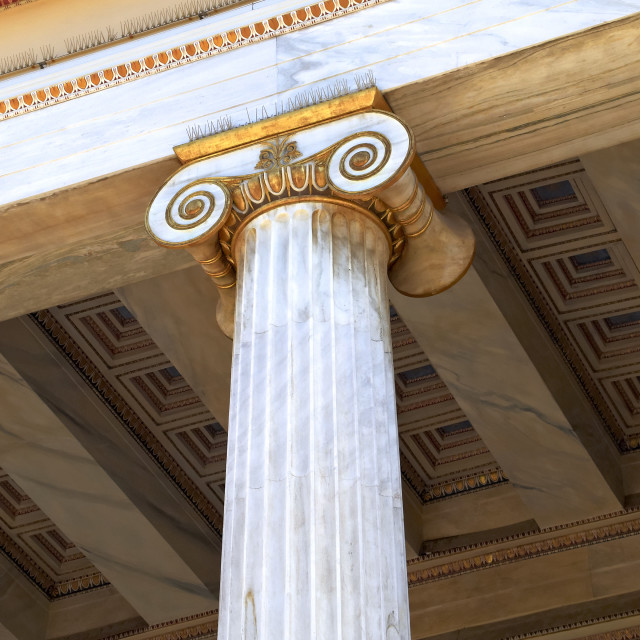 """detail of an ionian order column"" stock image"