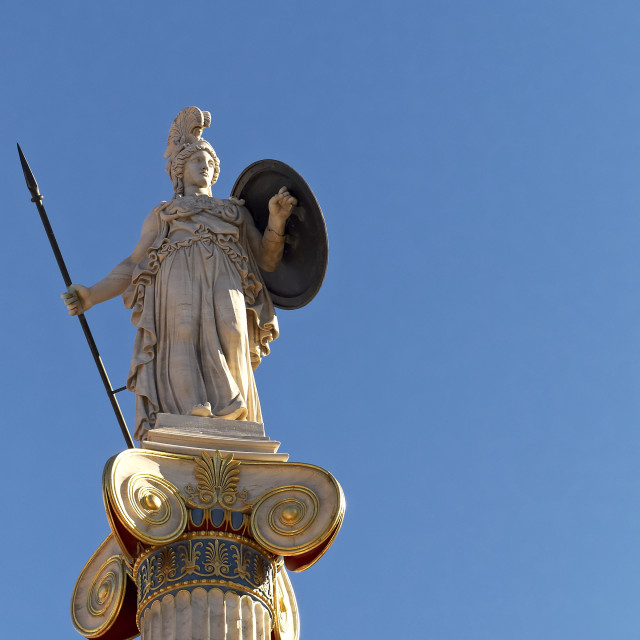 """Athena goddess statue on column"" stock image"