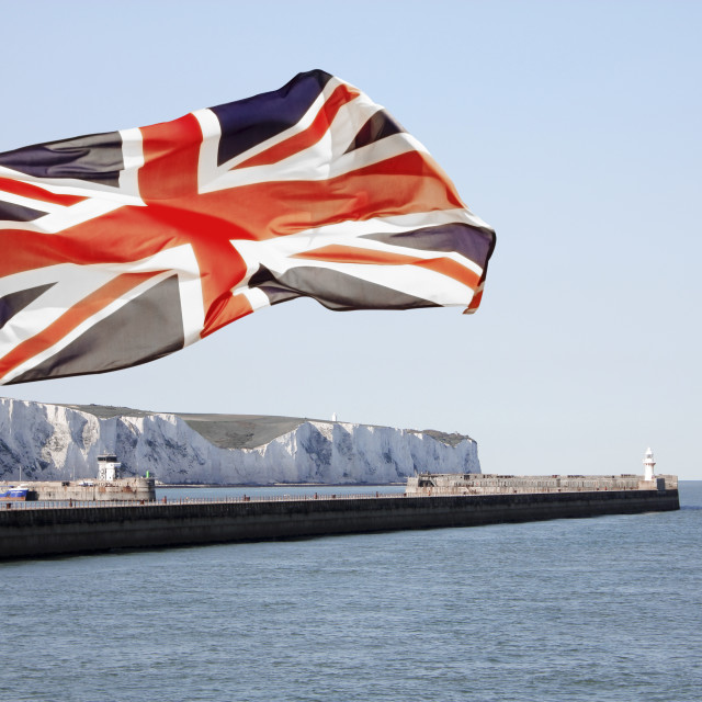 """""""Union Jack flying over White Cliffs of Dover"""" stock image"""
