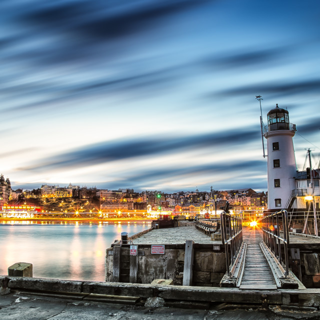 """Scarborough Harbour After Sundown"" stock image"