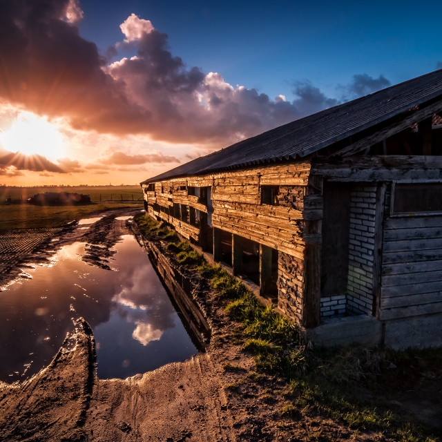 """The Puddle & the Barn"" stock image"