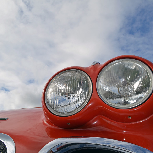 """headlamps on a classic American car"" stock image"