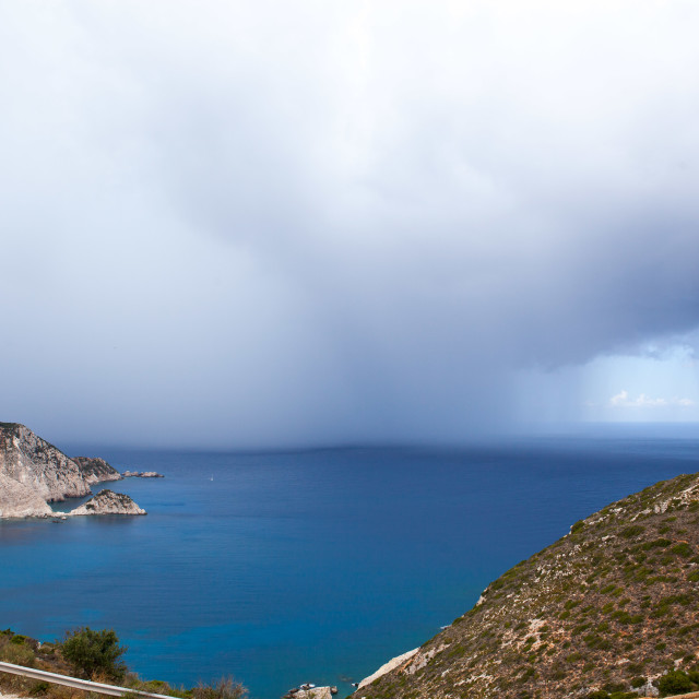 """Sea Mist over Petani Bay, Kefalonia"" stock image"