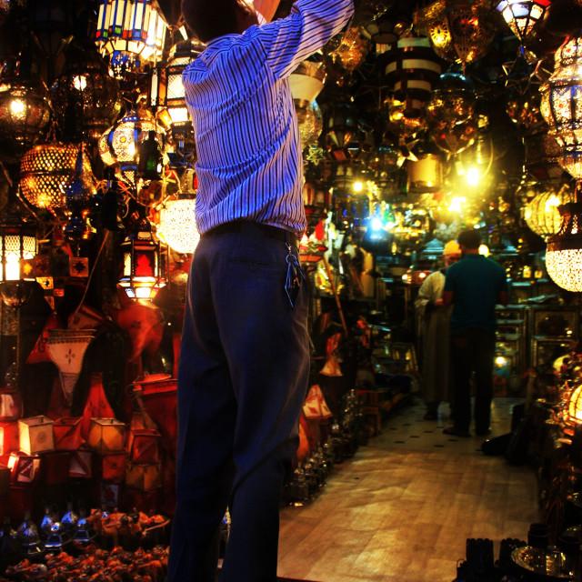 """""""Marrakech light stall owner"""" stock image"""
