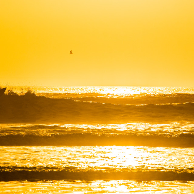 """""""Sunset at Croyde"""" stock image"""