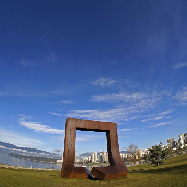 """Vancouver framed by modern sculpture"" stock image"