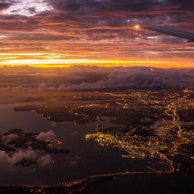 """Sunrise Over Auckland"" stock image"