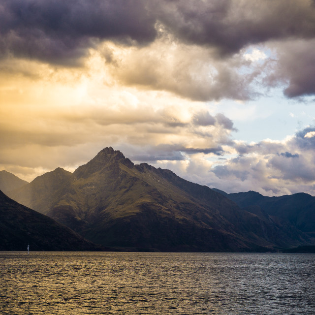 """Sunset Over Lake Wakatipu"" stock image"