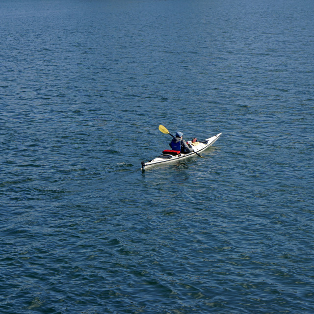 """Lone Kayaker, Vancouver,Canada"" stock image"