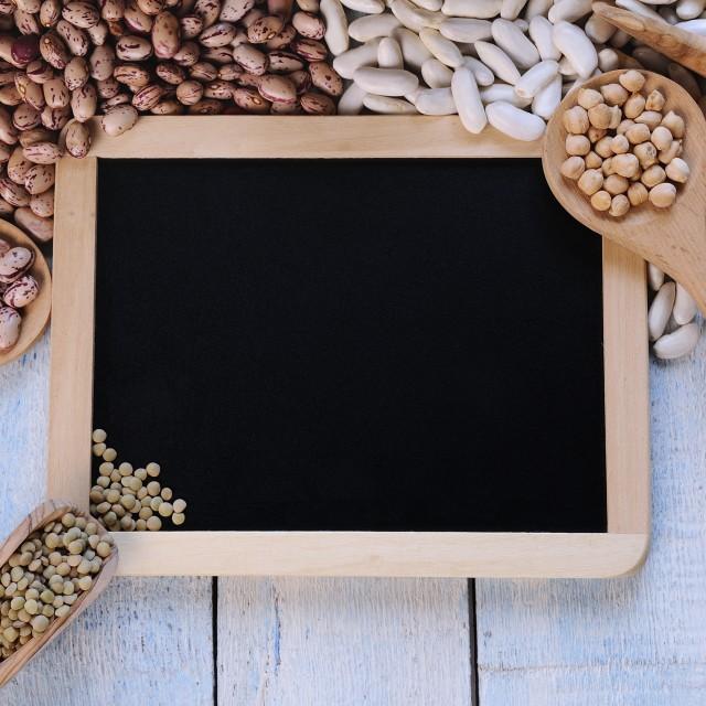 """Lentils and blackboard."" stock image"