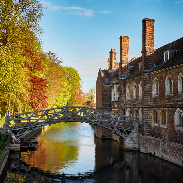 """The Mathematical Bridge in Cambridge and Part of Queen's College"" stock image"