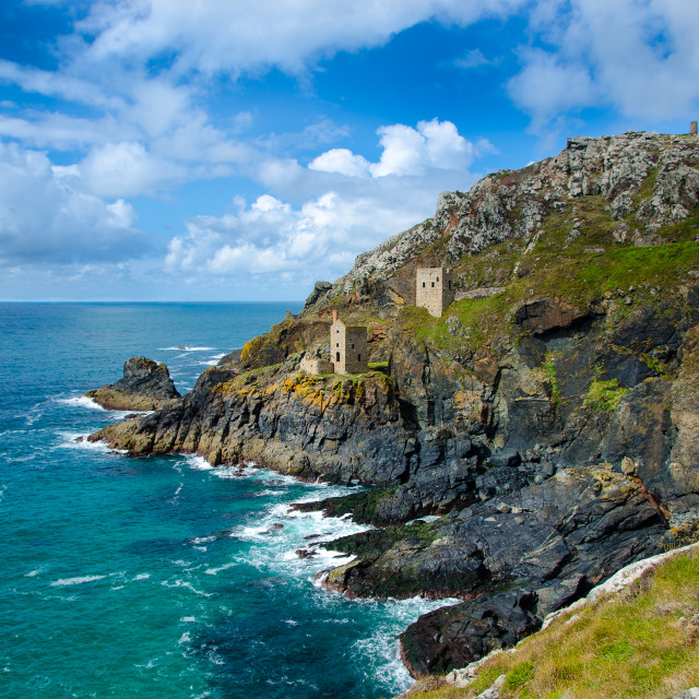 """Crown Mines at Botallack Cornwall"" stock image"