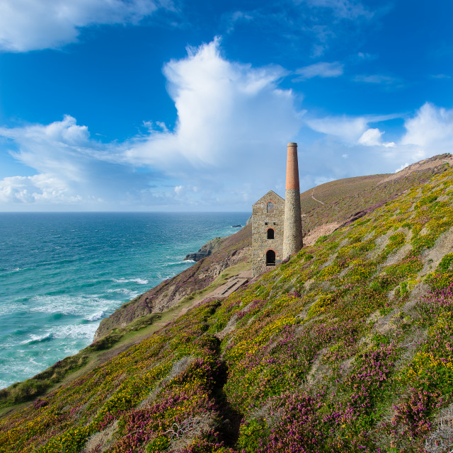 """Towanroath Engine House at Wheal Coates near St Agnes, Cornwall"" stock image"