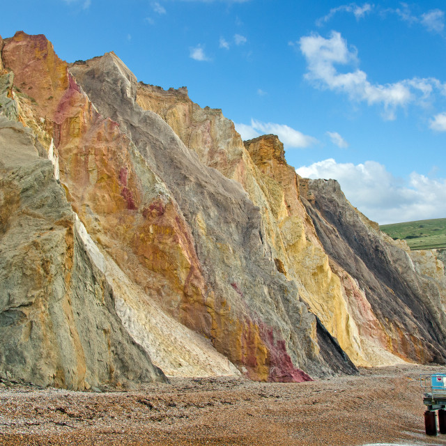 """Multi coloured cliffs at Alum Bay"" stock image"