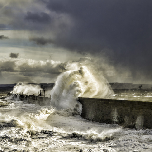 """Hartlepool waves and Storm"" stock image"