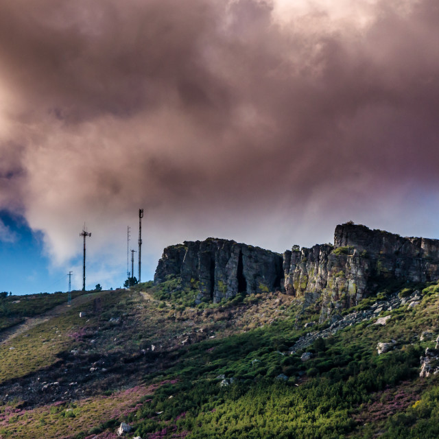 """""""Communications antennas on top of the mountain."""" stock image"""