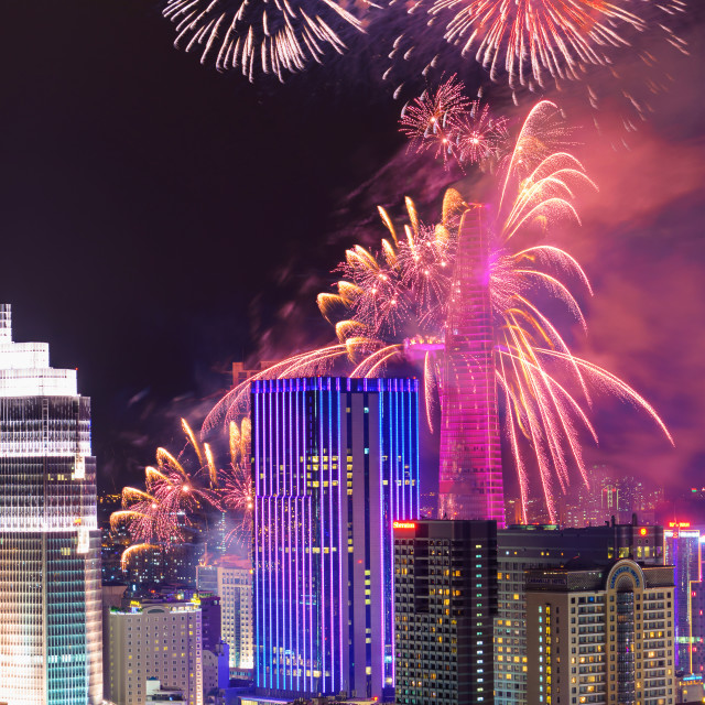 """""""Fireworks in Ho Chi Minh City"""" stock image"""