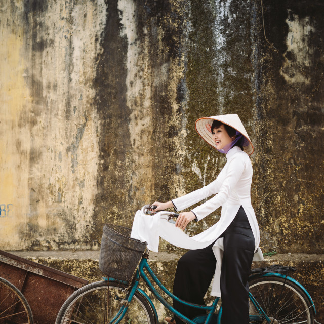"""Vietnam Ao Dai and conical hat"" stock image"