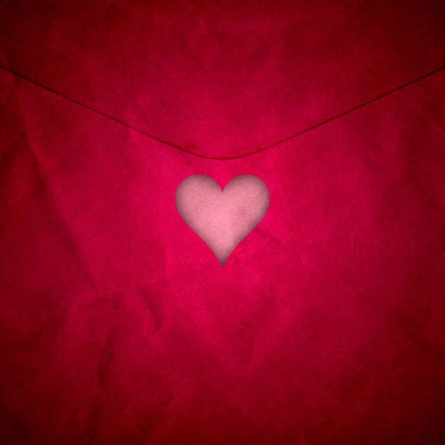 """Red cut out valentine heart"" stock image"