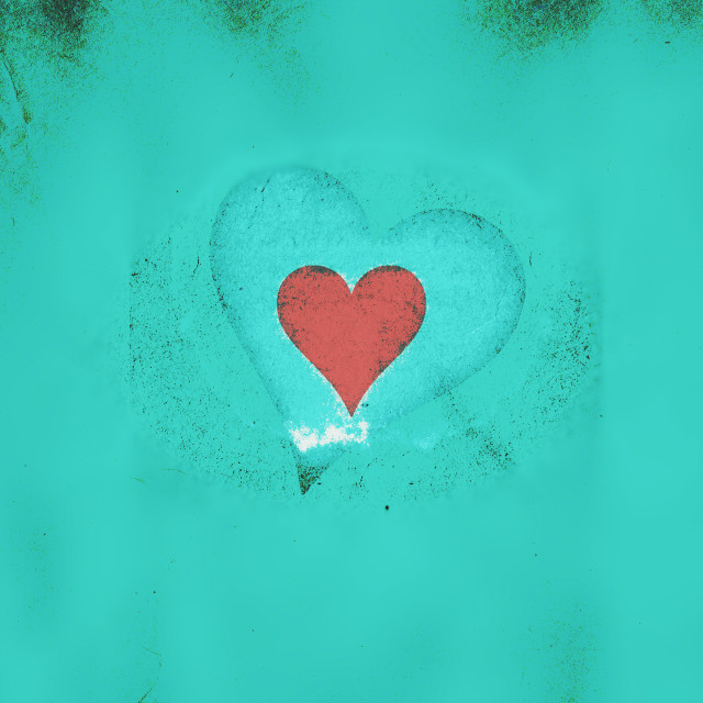 """Valentine heart on a light blue grunge background"" stock image"