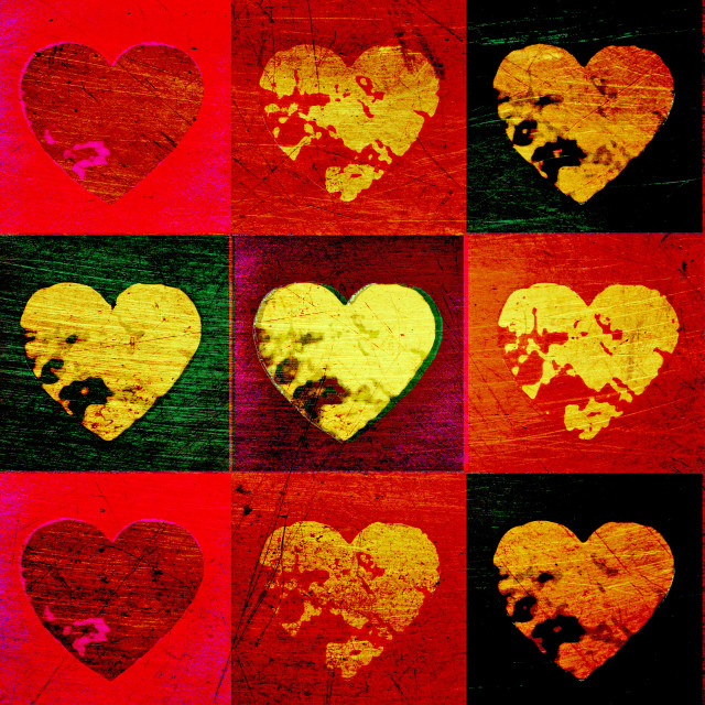 """Scratched grunge valentine hearts"" stock image"