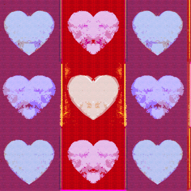 """Colourful textured valentine hearts"" stock image"
