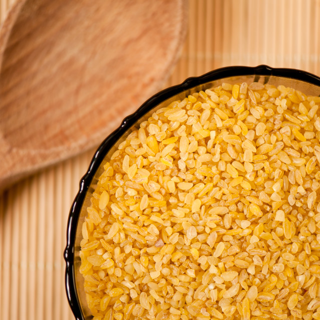 """Bulgur wheat groats closeup"" stock image"