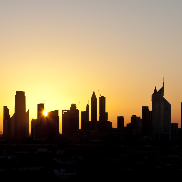 """Dubai Sunset Skyline"" stock image"