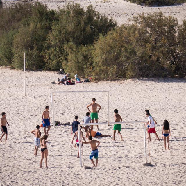 """Football on the beach"" stock image"