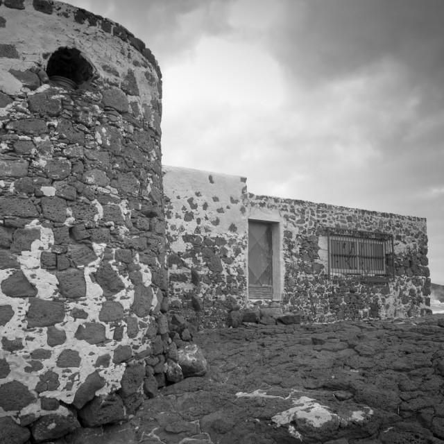 """""""Old buildings, El Cotillo"""" stock image"""