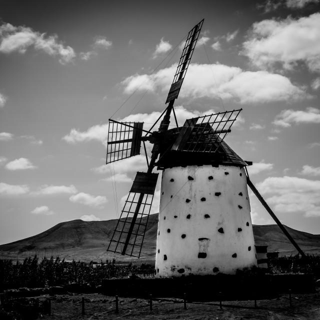 """""""Windmill near El Cotillo"""" stock image"""