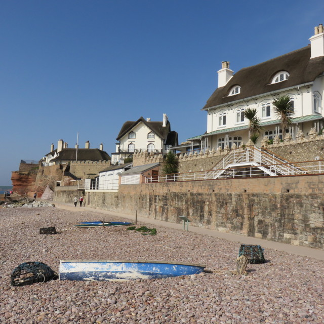 """""""sea front cottages"""" stock image"""