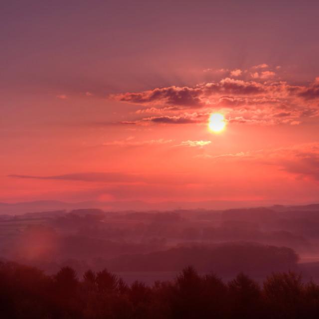 """Sunrise from Homberg Hill"" stock image"