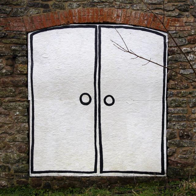 """""""Painted cartoon double door"""" stock image"""