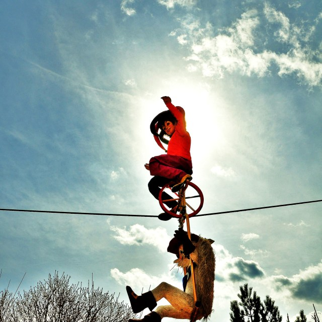 """Tightrope Unicycle"" stock image"