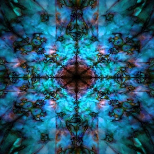 """Dark blue kaleidoscope pattern"" stock image"