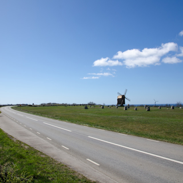 """Windmill at roadside"" stock image"