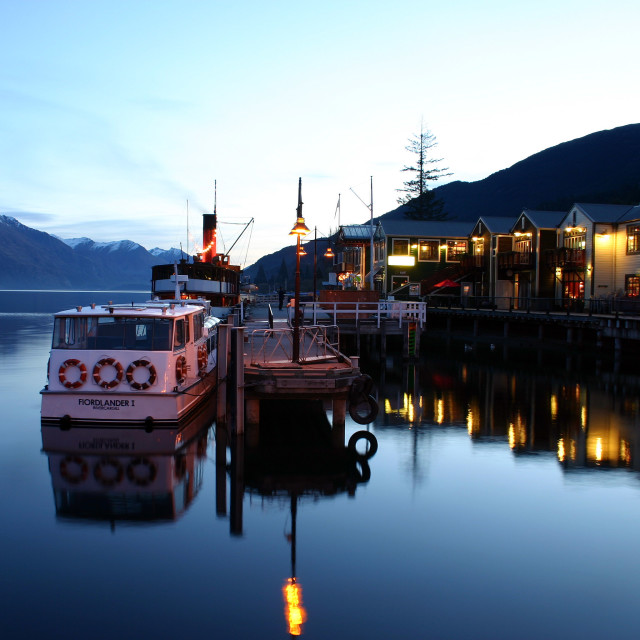 """Queenstown Marina Reflections"" stock image"