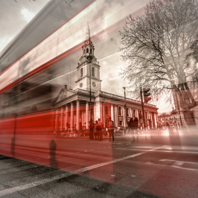 """London Bus/St.Martin in the field"" stock image"