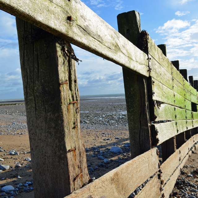 """Wooden breakwater on the Sussex coast."" stock image"