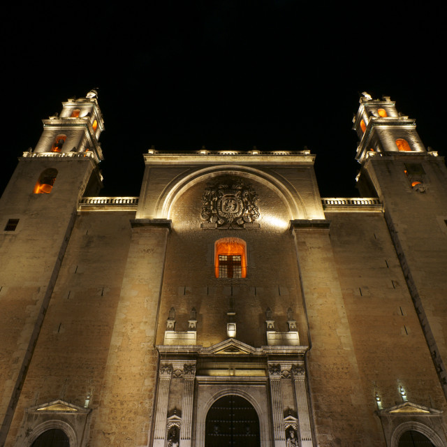 """Merida Cathedral at night, Yucatan, Mexico"" stock image"