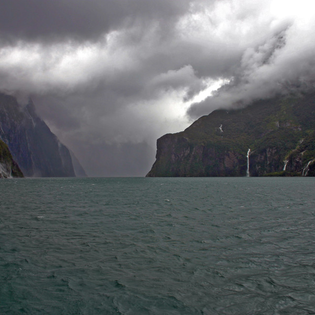 """The Milford Sound from the boat"" stock image"