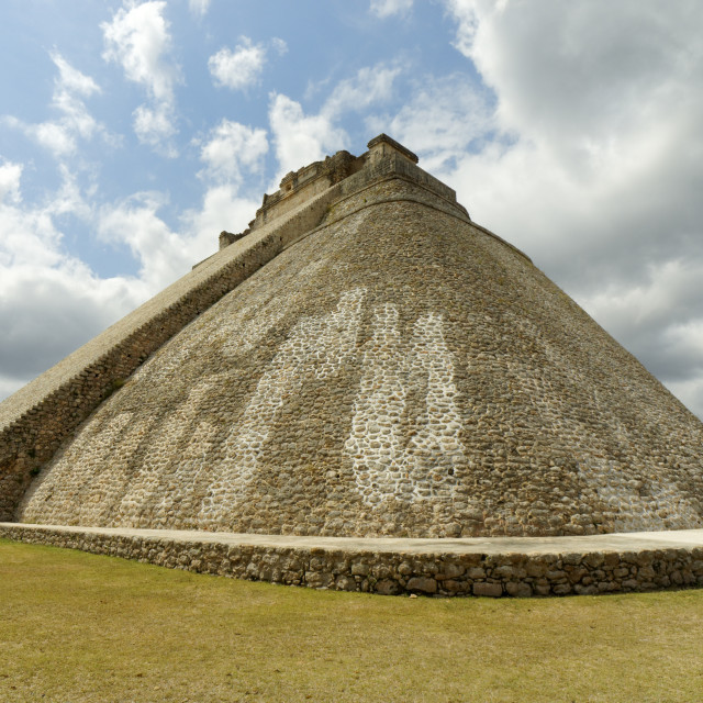 """Pyramid of the Magician, Uxmal, Mexico"" stock image"