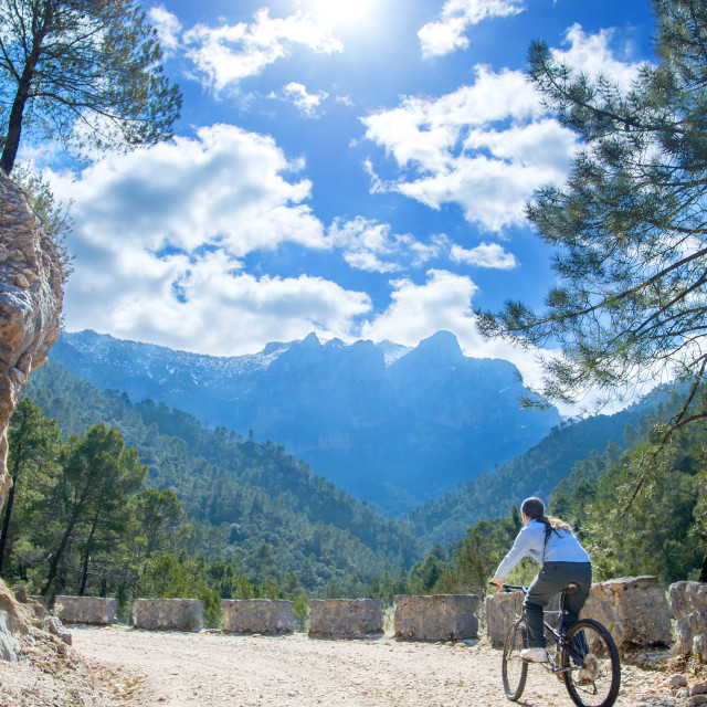 """Woman biking"" stock image"