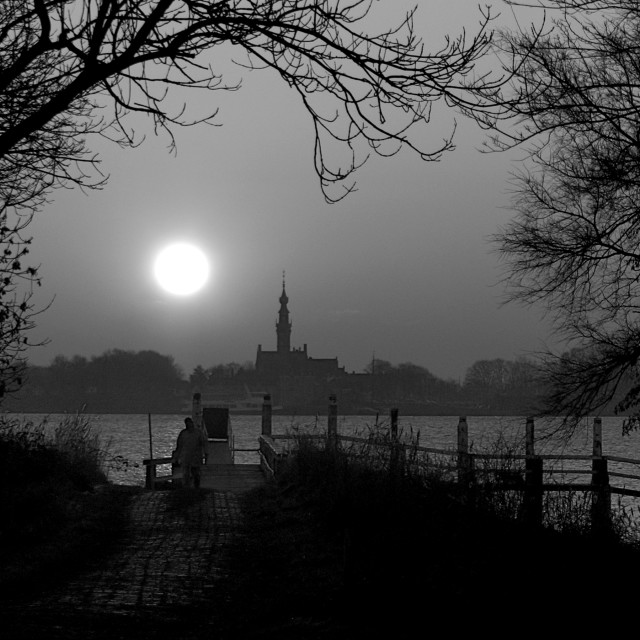 """Black and White Sunset"" stock image"