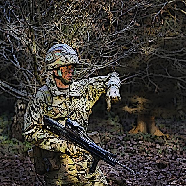 """cartoon patrolling soldier"" stock image"