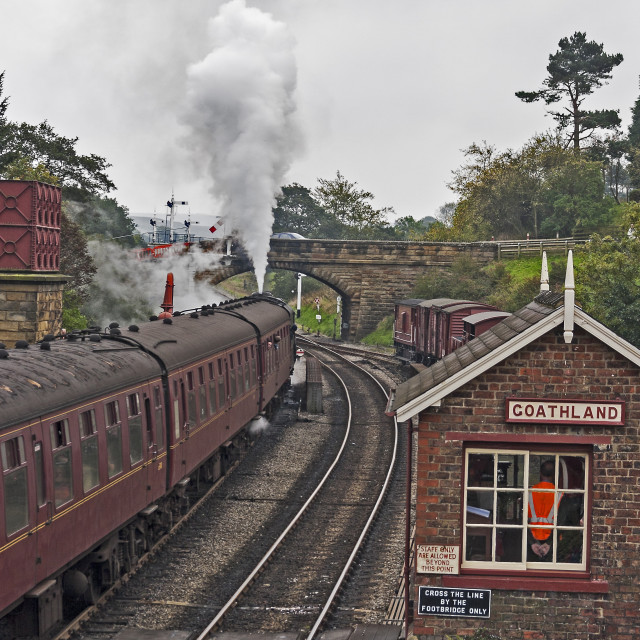 """Steam train at Goathland Station North yorkshire"" stock image"